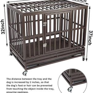 Heavy Duty Dog Cage Crate Kennel Playpen Large Strong Metal for Large Dogs and Pets, Easy to Assemble with Patent Lock and Four Lockable Wheels, 42'' for Sale in Monterey Park, CA