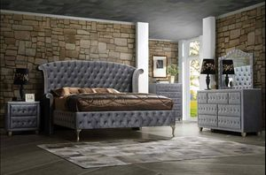 (JUST $54 DOWN) Brand New Velvet Tufted Platform Queen Bedroom Set (Financing and Delivery available) for Sale in Carrollton, TX