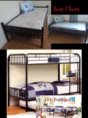 New! Twin/ Twin detachable Metal bunk beds w / mattresses Firm texture for Sale in Fresno, CA