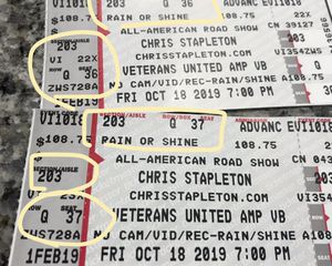 Chris Stapleton -2 tickets for Sale in Virginia Beach, VA