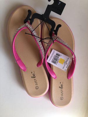 Hot pink sparkly flip flops size 7 for Sale in Glendale, AZ