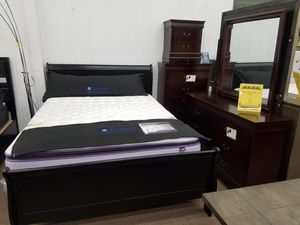 $29 down 90 days no interest black or cherry color queen-size complete bedroom set for Sale in Takoma Park, MD