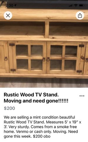 Reduced!!!! Moving and need gone!!!!! Rustic Wood TV Stand for Sale in Midland, TX