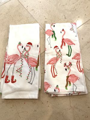 New Christmas Flamingo Kitchen Towels Set of 2 for Sale in Waipahu, HI