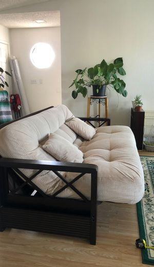 Cream color Couch bed futon for Sale in Las Vegas, NV