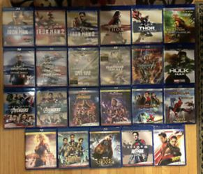 23 Marvel Movies Blu-ray, Complete Avengers MCU phase 1-4 all for $200, or $14 dollar Each, Disney Marvel DC Harry Potter the Star Wars movies Bluray for Sale in Everett,  WA