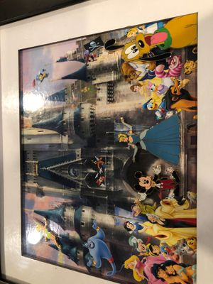 Disney Magic Kingdom print with four pins attached. Framed. for Sale in Fairfield, NJ