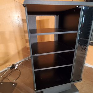 Tall TV Stand in Black with Glass Doors for Sale in Centennial, CO