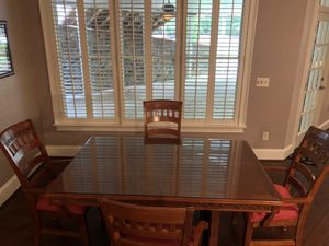 Real Wood Pedestal Table and Four Custom Fabric Arm Chairs. for Sale in Alpharetta, GA