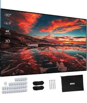 JWST Projector Screen, Upgraded 150 Inch Portable Projector Screen 16:9 HD Anti-Crease Indoor Outdoor Foldable Portable Movie Screen for Sale in El Monte, CA