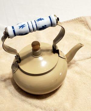 Tin Tea Pot w/ Porcelain Handle for Sale in Clovis, CA
