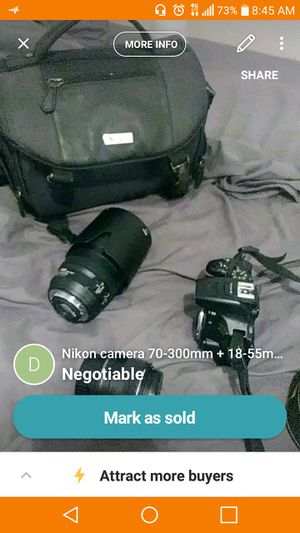 Nikon camera with 2 lenses. One is 18-55mm the other is 70-300mm for Sale in Harwood Heights, IL