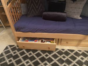 Beautiful Solid Utah naples XL twin on twin bunk beds and matching dresser for Sale in Naples, FL