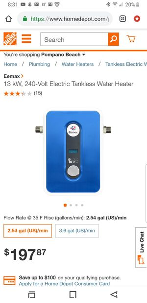 Eemax 13kw tankless water heater for Sale in Pompano Beach, FL