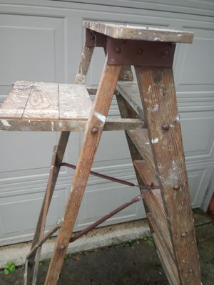 Rustic 5 foot wood folding ladder - plant shelf pot rack barn quilt stool for Sale in Dearborn Heights, MI