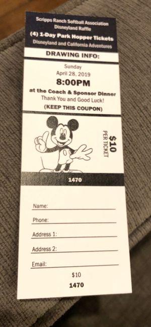 Disneyland Park Hopper Ticket Raffle for Sale in Poway, CA