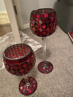 Holiday / Christmas red home decor. Glass candle holders, candles on decorative cups, set of throw pillows, wood vase and lamp shade for Sale in Chandler, AZ