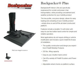 Wheelchair Lift, Backpacker Plus, Pride Lifts & Lifts for Sale in Pawtucket, RI
