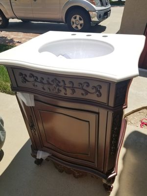 Home Decorators Collection Winslow 26 in. W x 22 in. D Vanity in Antique Cherry with Marble Vanity Top in White with White Sink for Sale in Murrieta, CA