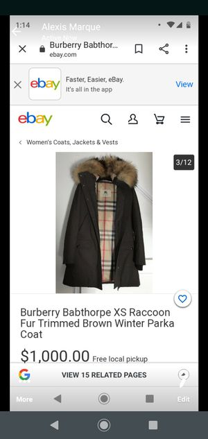 Women's Burberry Babthorpe Raccoon fur trimmed brown winter parkacoat for Sale in Westminster, CO