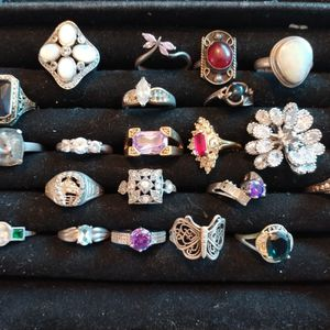 Antique Rings mostly Sterling Silver Amethyst. Moonstone Rhinestone And More for Sale in Roseville, CA