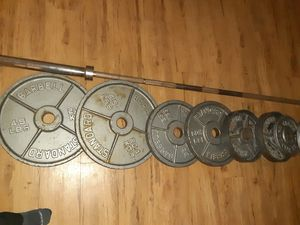 Olympic bar + weights for Sale in San Diego, CA