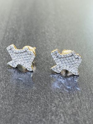 TEXAS YELLOW GOLD DIAMOND STUD EARRINGS JEWELRY $0 Down Financing for Sale in Sugar Land, TX