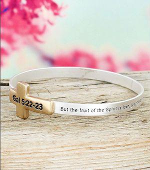 Galatians 5:22-23 Two Tone Cross Bible Verse Bangle Bracelet for Sale in Troy, VA