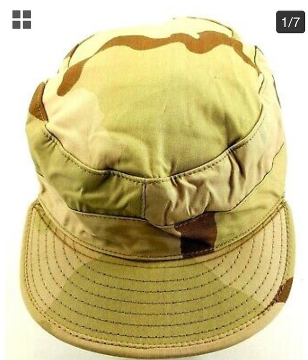 """US Military Desert Army Camouflage Pattern Class 2 Hat Size 7 7/8"""" Flexible"""