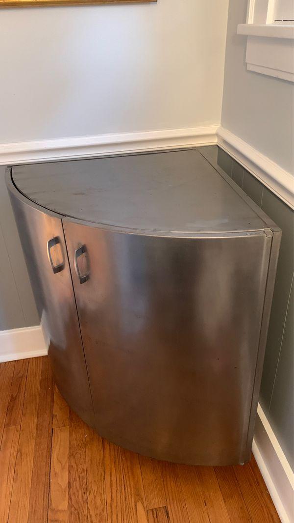 Vtg Steelcase Corner Cabinet Industrial Chic Gray Metal Storage
