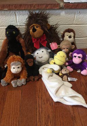 Lot of 10 monkeys apes stuffed animals Stuffies plush toys kids baby gorilla orangutan for Sale in Las Vegas, NV