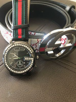 Men's white Belt and watch for Sale in Fresno, CA