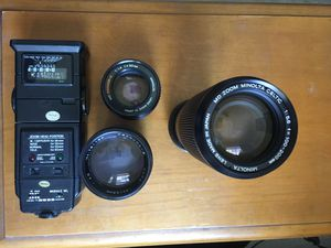 FILM CAMERA LENSES AND FLASH for Sale in Anaheim, CA
