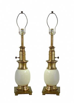 Set Of Two Matching Vintage Stiffel Ostrich Egg Porcelain & Brass Table Lamps for Sale in Statesville, NC
