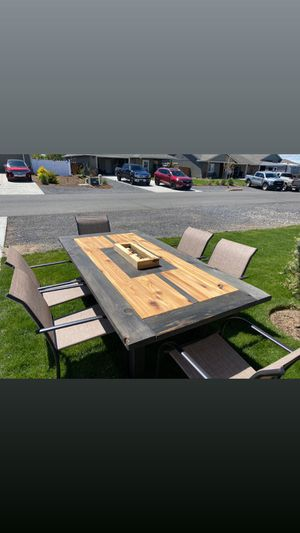 Handmade wooden outdoor dining table with 6 chairs included for Sale in Culver, OR