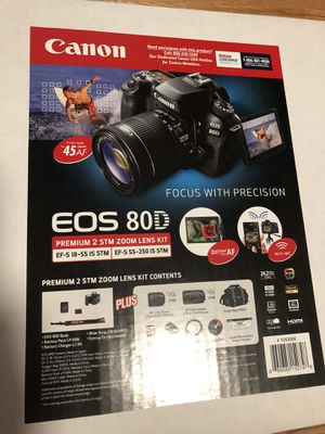 Brand New Canon 80d digital camera Premium 2 STM Zoom Lens Kit Never opened for Sale in Indian Trail, NC