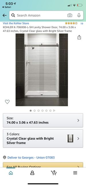 KOHLER K-706008-L-SH Levity Shower Door, 74.00 x 3.06 x 47.63 inches, Crystal Clear glass with Bright Silver frame for Sale in Kenilworth, NJ