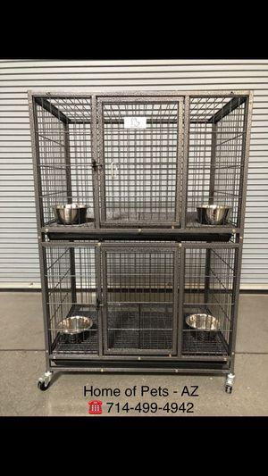 """2- Tier 37"""" Heavy Duty Kennel w/ Durable Plastic Tray & Wheels 🐶 (37x23x30 each). (additional feeding bowls $10 /each) for Sale in Gilbert, AZ"""