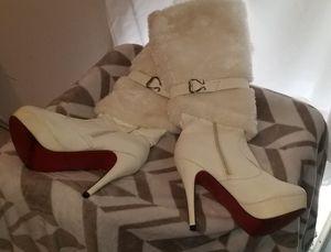 White Fur Boot Stilettos for Sale in Tampa, FL
