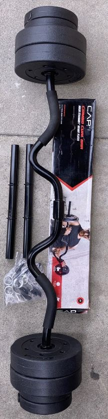 Weights standard 1 inch curl bar and 40lbs of vinyl plates with dumbbell handles for Sale in Azusa, CA