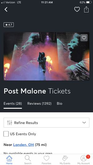 Post Malone in Indy, section 222, row 14, two tickets for Sale in Mason, OH