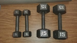 Dumbbells. 5 and 15 lbs. for Sale in Graham, NC
