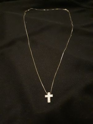 REAL 14KT WHITE GOLD 22INCH CHAIN WITH REAL 10KT WHITE DIAMOND CUT CROSS BOTH NEVER WORN for Sale in San Diego, CA