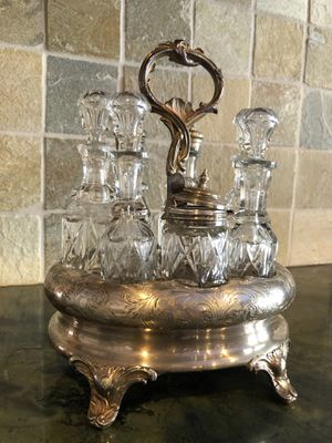 Antique Silver and Crystal Condiment Tray for Sale in Marshall, VA