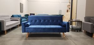 New in box Blue Velvet Mid-Century Modern Sofa Bed Couch Futon Pillows for Sale in Vancouver, WA