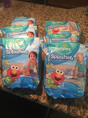 Pampers Splashers size 3-4 & 5 for Sale in Gibsonton, FL