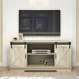 White Oak Living Room TV Stand Sliding Barn Door Design up to 65 inch TV for Sale in Rowland Heights, CA