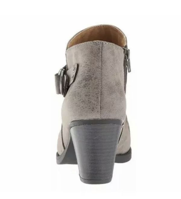 Natural Soul Shoe Women's Yeva Ankle Boot Side Zipper Buckle Gray Color Sz 9.5