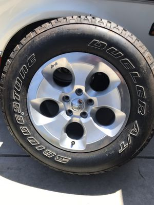 Set of 5 Jeep Wrangler wheels and tires 90% tire size 255/70/18 for Sale in Corona, CA