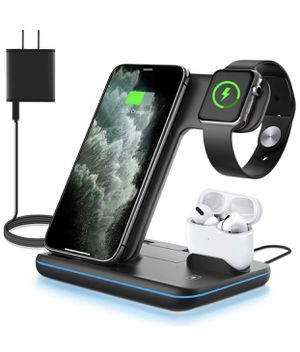 WAITIEE Wireless Charger, 3 in 1 Qi-Certified 15W Fast Charging Station for Apple iWatch Series SE/6/5/4/3/2/1,AirPods, Compatible for iPhone 12/11 S for Sale in Lake View Terrace, CA